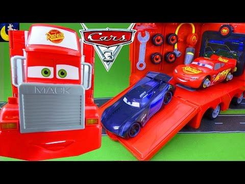 NEW Disney Cars 3 Toys! Mack Mobile Tool Center Take Apart Lightning McQueen Race Car Jackson Storm