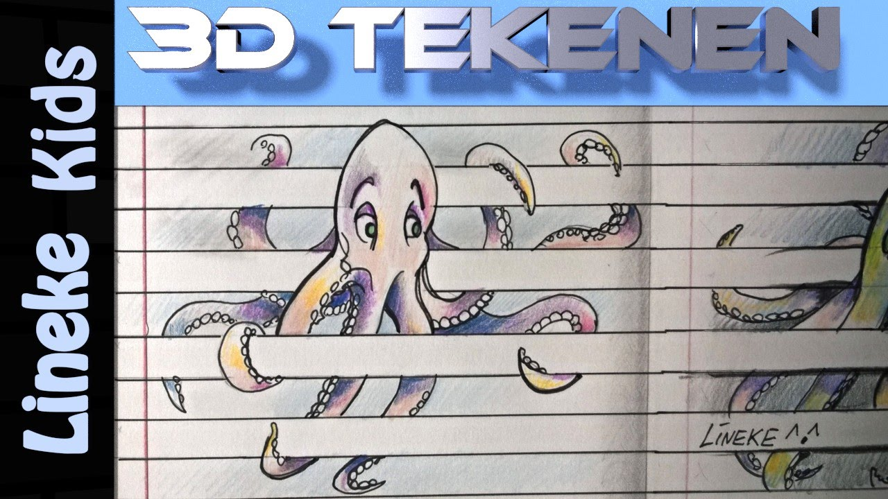 3d Tekening Inktvis Of Octopus Tekenen Makkelijk Voor