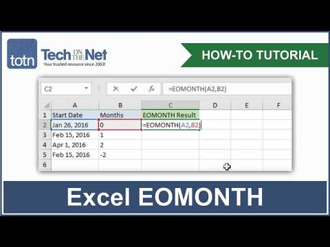 MS Excel: How to use the EOMONTH Function (WS)