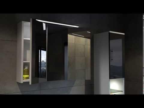 Bad11® Badmöbelset DIADORA DUO Hochglanz Weiß/Schwarz Spiegelschrank öffnen