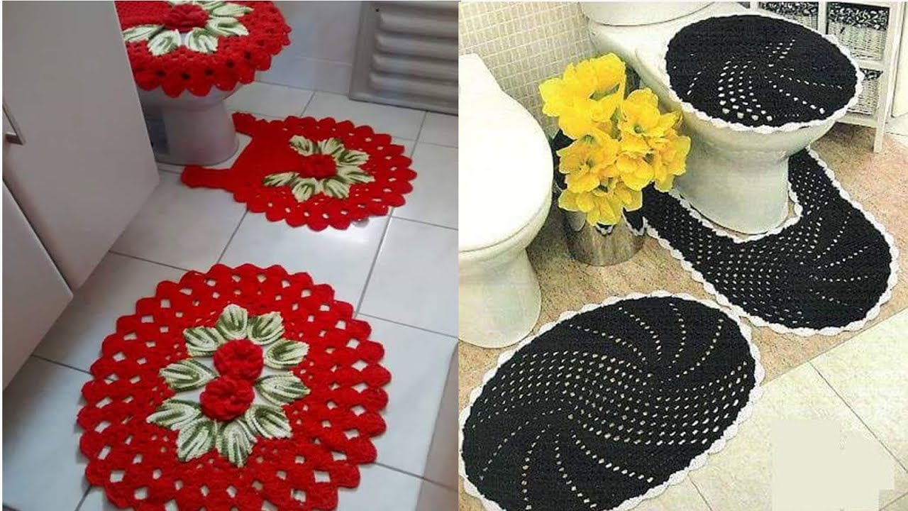 Funda para ba os tejidos a crochet n 01 2016 youtube for Set de bano tejidos