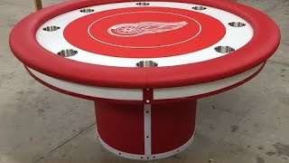 Round Custom Poker Tables With A Sports Theme