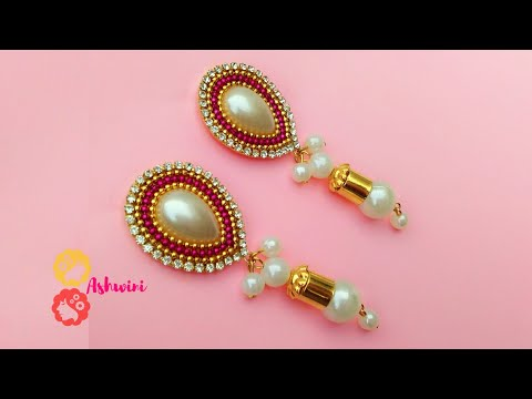 How To Make Designer Pearl Drop Earrings At Home / DIY / Jewelry Making / uppunutiashwini