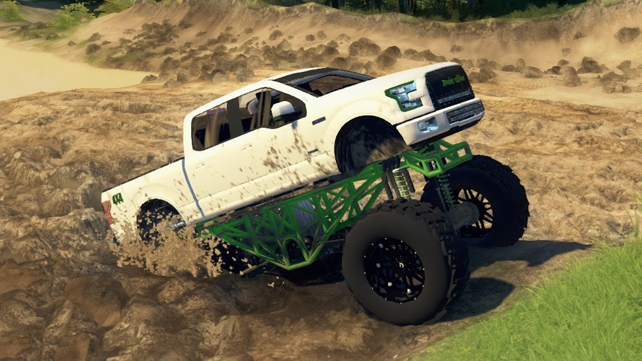 HUGE FORD F150 MUD TRUCK Lifted 4x4 Mudding Hill Climbing Off Roading SpinTires