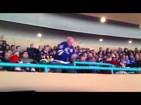 Dancing Larry at Madison Square Garden for Rangers vs Jets