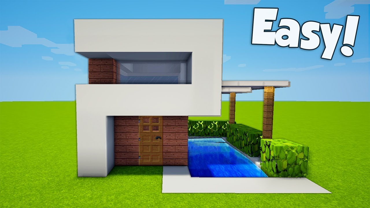 Minecraft How To Build A Small Easy Modern House Tutorial 24