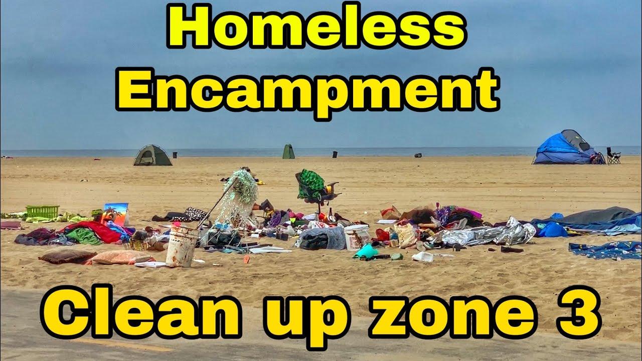 UPDATE Homeless encampment clean up zone 3 in venice beach california