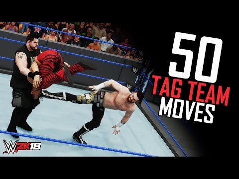 WWE 2K18 50 Awesome Tag Team Moves! (Tag Moves & Finishers Ultimate Compilation)