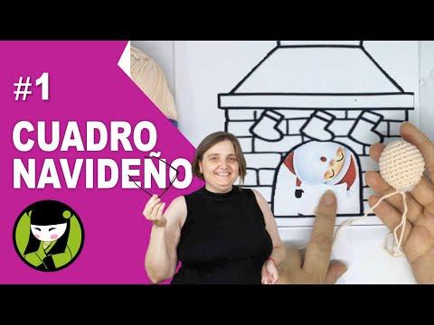 AMIGURUMI DE NAVIDAD 1 cuadro con PAPA NOEL Y CHIMENEA tejidos a crochet