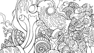 Drawing Snails - Adult Coloring Book Page