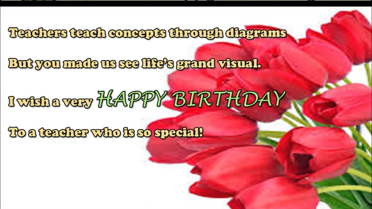 Happy birthday wishes to teacher birthday sms quotes message happy birthday wishes to teacher birthday sms quotes message greetings to teacher youtube m4hsunfo
