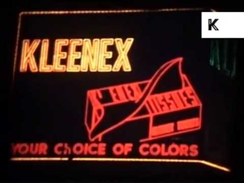 1960s Neon Times Square, Camel, Chevrolet, Hitchcock's Psycho  Home Movies