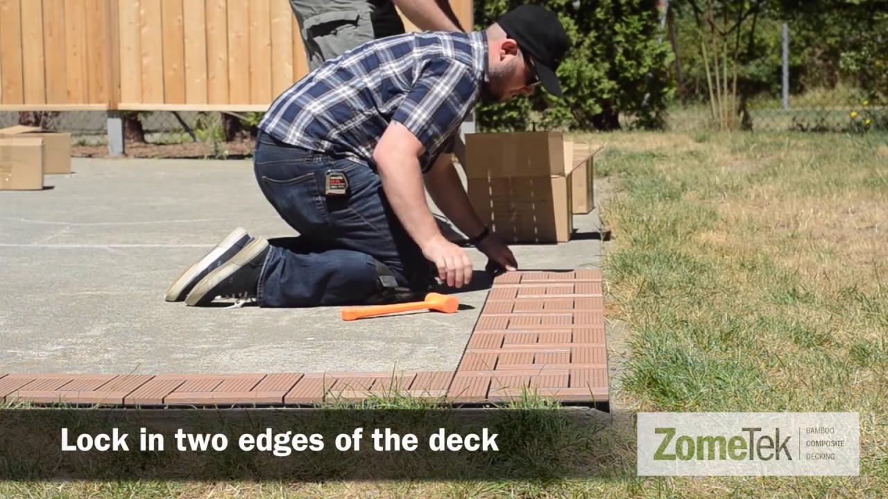 How To Install ZomeTek Bamboo Composite Deck U0026 Patio Tiles