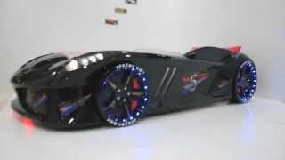 Black Jaguar Race Car Bed with LED lights USA