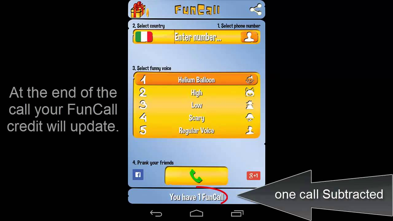 FunCall - In Call Voice Changer Dialer App instruction for Android (old  Version))
