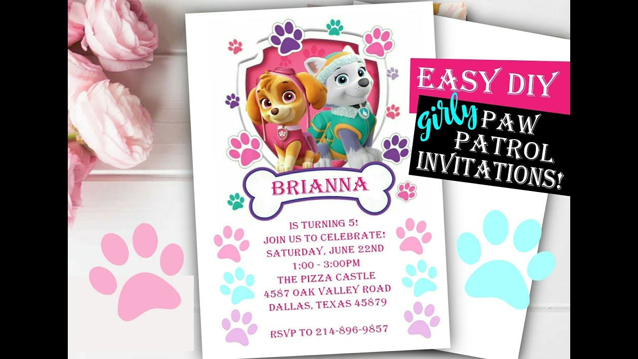 GIRLY Paw Patrol Birthday Invitations Skye Everest Easy DIY