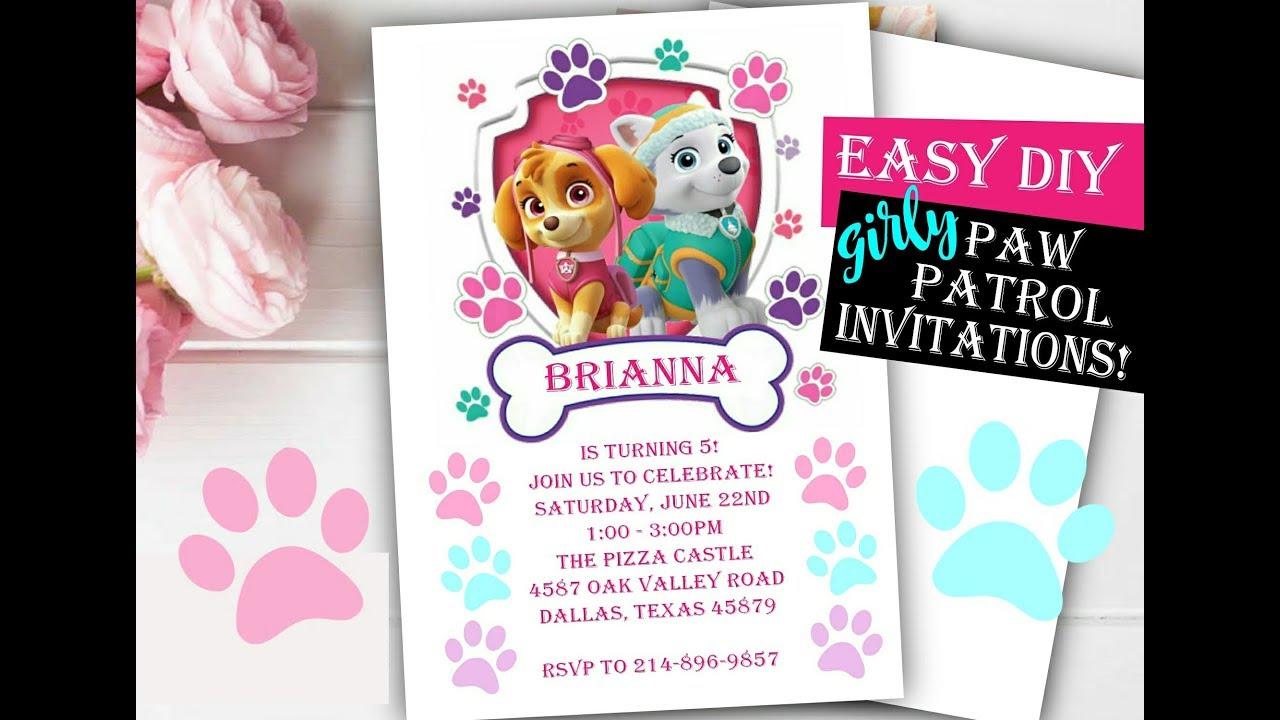 Everest Birthday Party Invitation Skye Paw Patrol Greeting Cards Invitations Home Garden