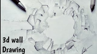 Broken wall 3d Drawing || timelapse video||3d  drawing