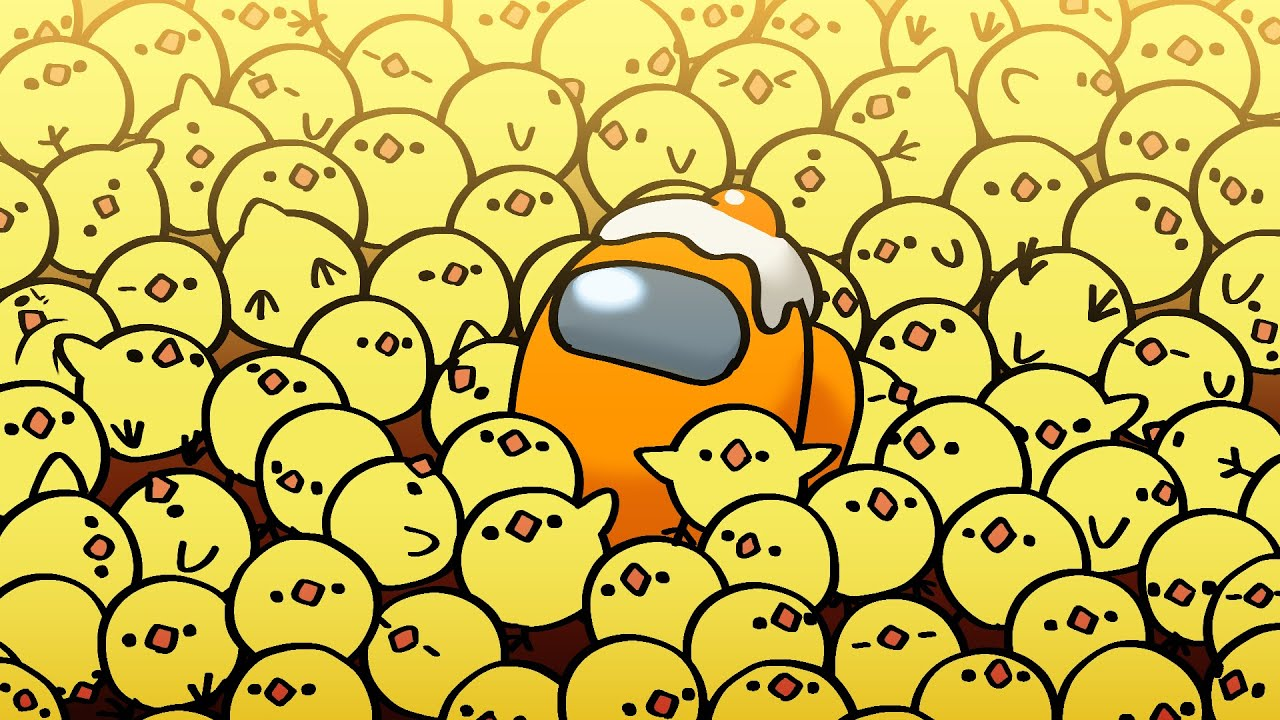"""Among Us Shorts """"LOBBY"""" (Orange and Eggs)"""