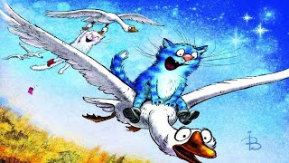 Шкодливые и романтичные синие коты художника-иллюстратора Ирина Зенюк. .