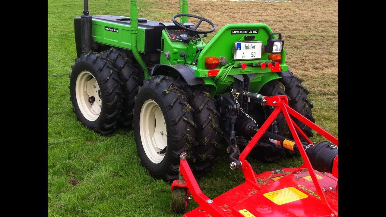 Holder A50 - Allrad Knicklenker mit Sichelmähwerk im Einsatz - Holder Traktor sound - YouTube