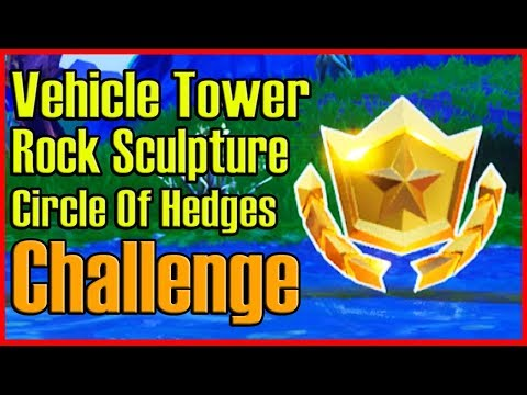 WHERE to Find Vehicle Tower, Rock Sculpture, and a Circle of Hedges CHALLENGE! (Fortnite)