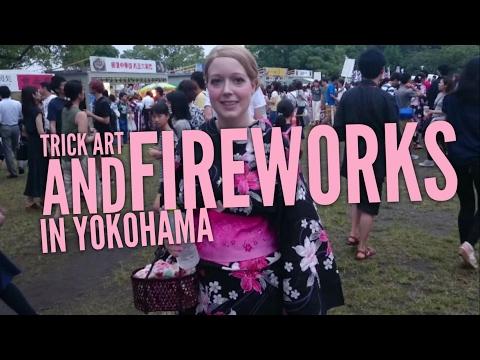 Trick Art and Fireworks in Yokohama