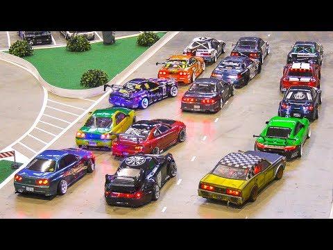 MASS START!! RC model scale DRIFT CARS!! *remote control cars, rc drift