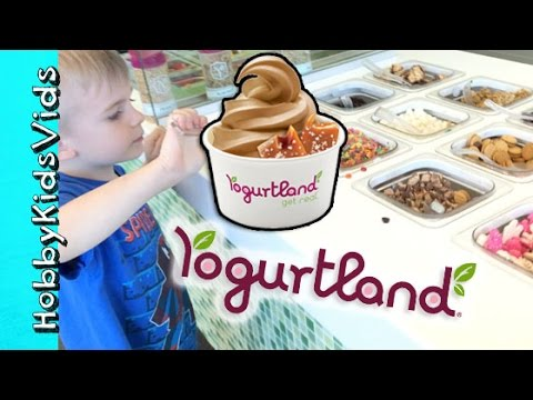 Yogurtland! Chocolate Chip Challenge + Frozen Yogurt Toppings Galore by HobbyKidsVids
