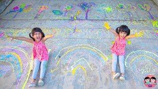 หนูยิ้มหนูแย้ม   วาดสีถนนด้วยแป้งข้าวโพด Kids Activity