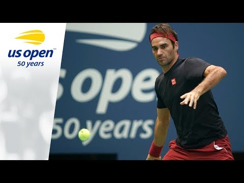 Roger Federer Practices On Arthur Ashe Stadium At 2018 US Open