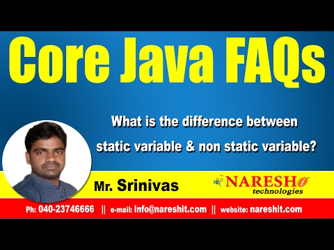 What is the difference between static variable & non static variable? | Core Java FAQs Videos