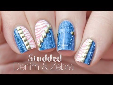 Studded Denim & Zebra Print   Nail Art