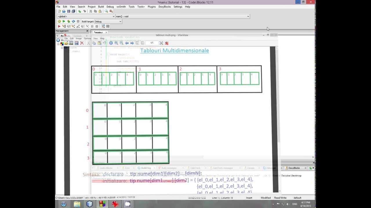 Tutorial de programare in limbajul C HD (limba romana): Tablouri multidimensionale [#13]