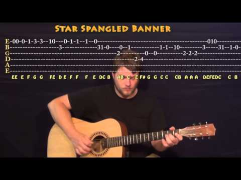 The Star Spangled Banner - Guitar Melody Root Position - Cover Lesson with TAB