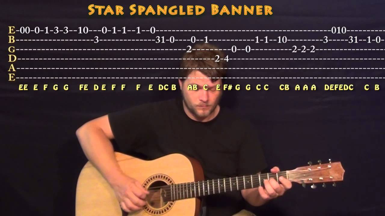 The Star Spangled Banner Guitar Melody Root Position Cover Lesson With Tab Youtube