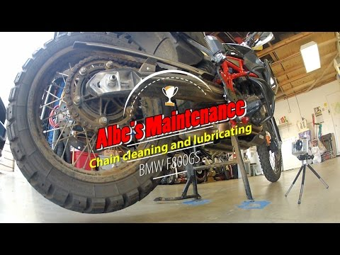 BMW F800GS chain cleaning and lubeing