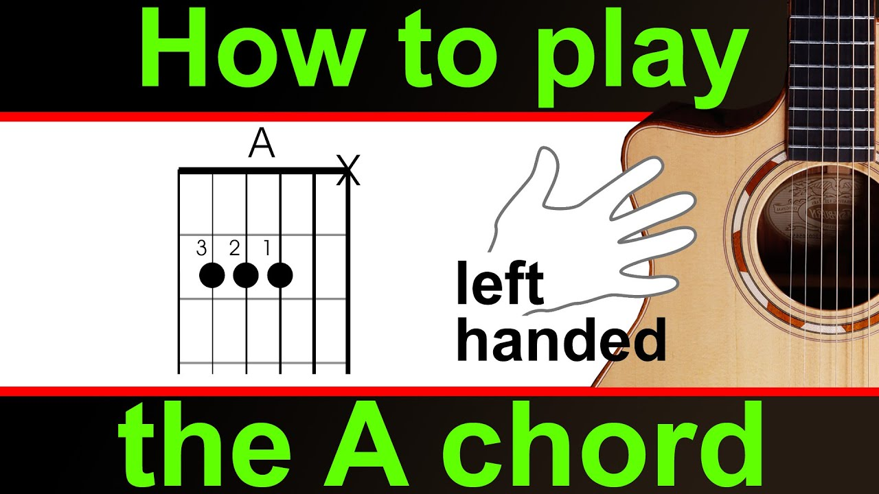 play the a major guitar chord left handed 39 a 39 chord youtube. Black Bedroom Furniture Sets. Home Design Ideas