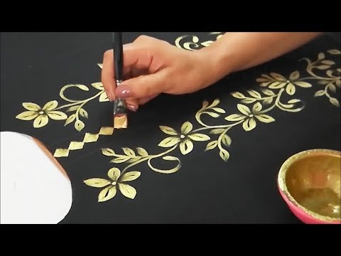 DIY Golden Fabric Painting | How to do Gold Painting on Kurtis / Tops / Dresses