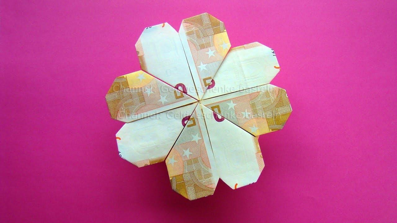 Geldscheine falten: Blume / Kleeblatt - Geld falten zum