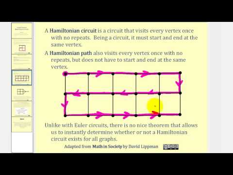 Graph Theory:  Hamiltonian Circuits and Paths