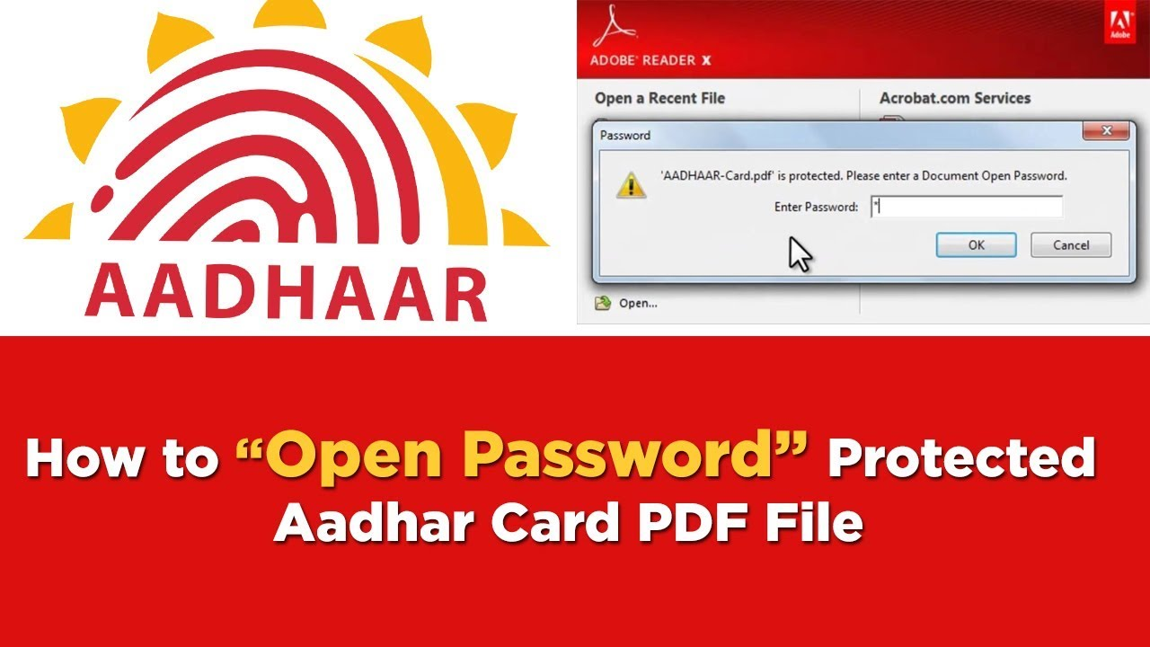 How to open Aadhar Card PDF File | What is the password to open e-Aadhar  card PDF in telugu