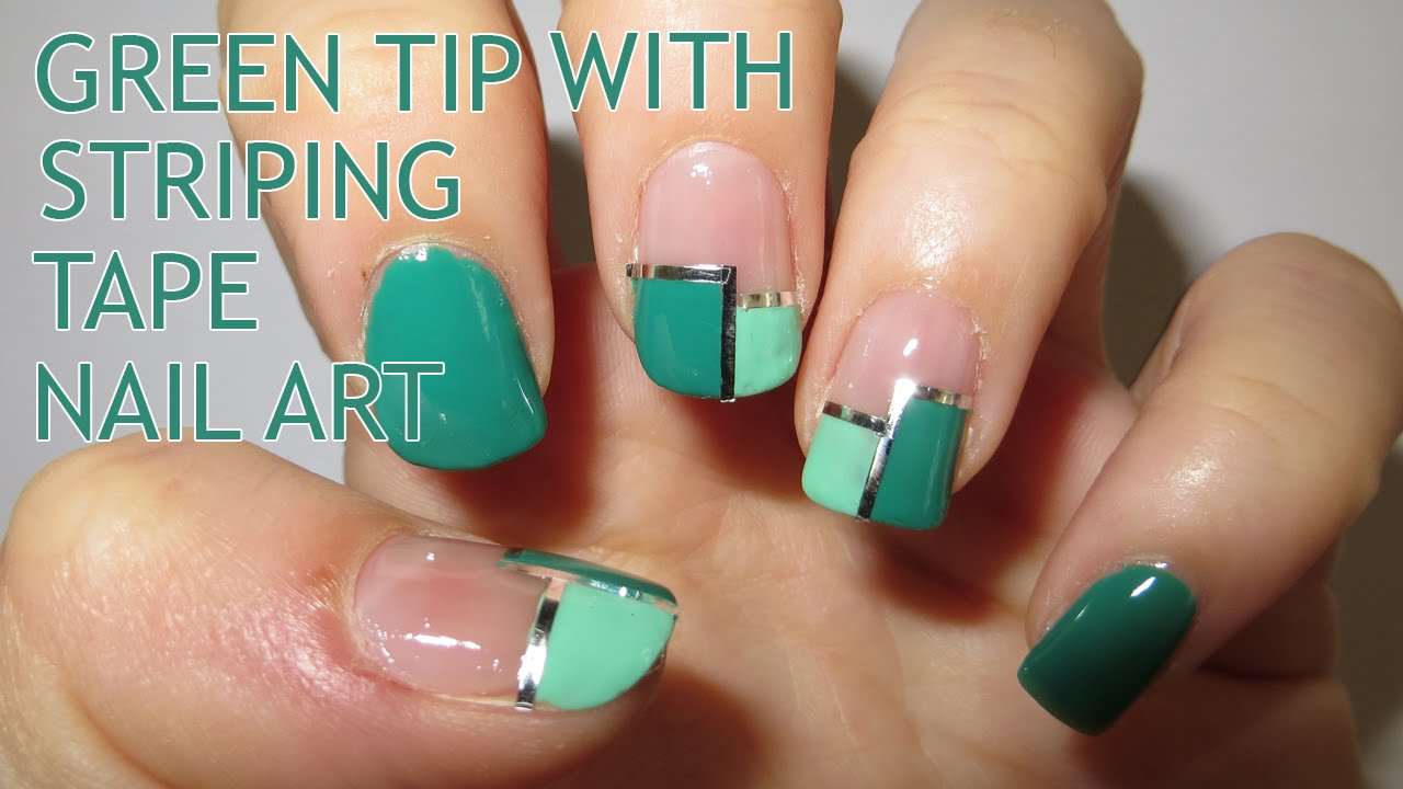 Green Tip With Striping Tape Nail Art