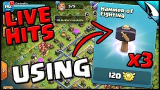 *LIVE HITS* Using x3 Hammer of Fighting on TH 11 | Clash of Clans