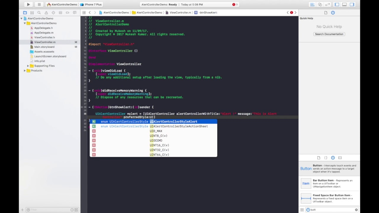 How to create Alert Controller in iOS using Objective-C in Xcode 8 ?