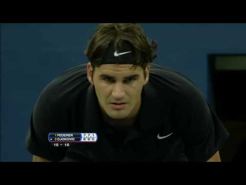 [HD]federer djokovic powerful serve and forehand winner likes Ice beer on shot~