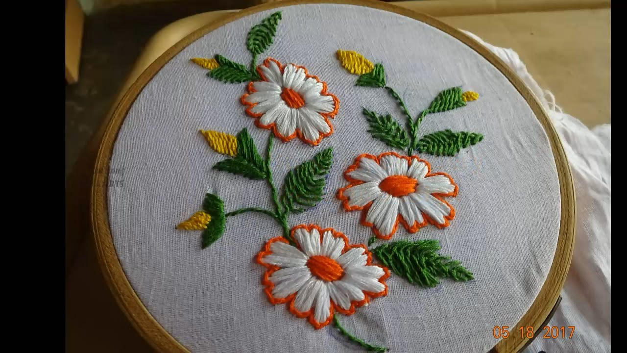 embroidery flower hand satin stitch amma arts
