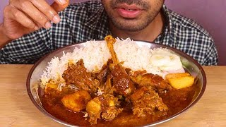 simple but spicy chicken curry with basmati rice-mukbang eATING SHOW indian food