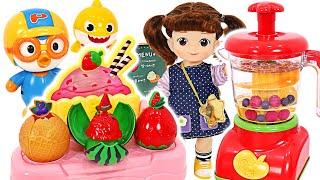 핑크퐁, 아기상어~! 콩순이 믹서기로 맛있는 과일 빙수…