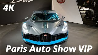 New Bugatti Divo, Aston Martin cupe  - Paris Auto Show 2018 VIP exhibit in 4K